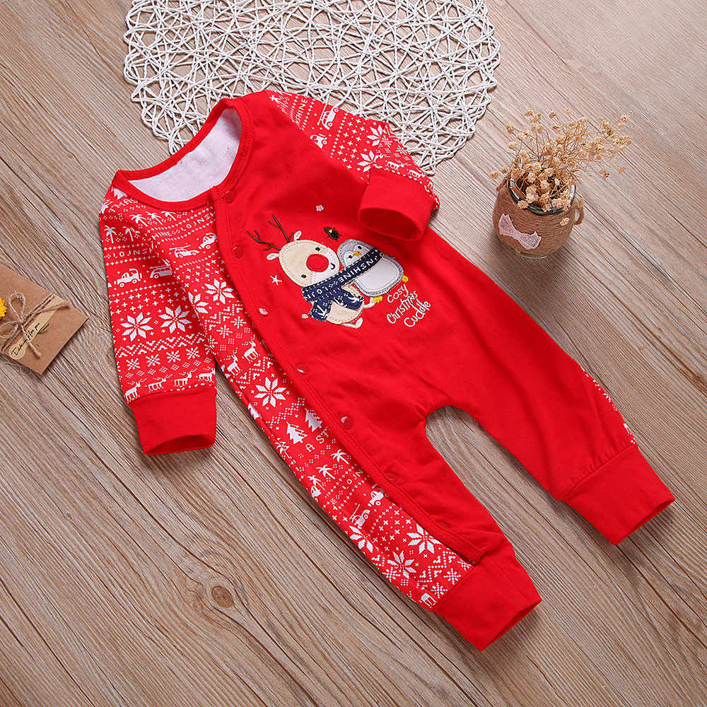 Newborn Infant Baby Girl Boy Deer Romper Jumpsuit Christmas Outfits Clothes z0