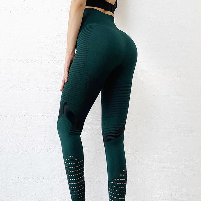 Sexy High Waist Legging Women Green Push Up Slim Hollow Leggings Ladies Sport Casual Stripe Pencil Pants Spandex Elastic Legging