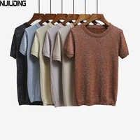 NIJIUDING 2019 Sommer Gestrickte T Shirt Top Tees Short Sleeve Solide O-ansatz T-Shirts Mode Dünne Strickwaren T-shirt Dropshipping