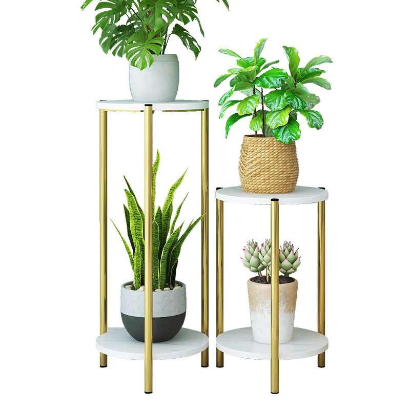 Indoor Outdoor Gold Metal Plant Stand With Wood Base Iron Floor Flower Pot Stand Indoor Plant Holder For Home Garden Patio Decor Plant Shelves Aliexpress