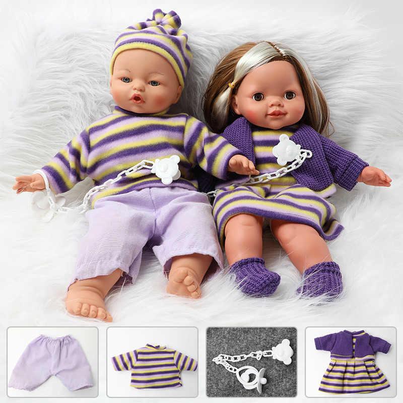 16 cali symulacja bebe reborn silikon 40.5cm realistyczny dźwięk miękkie ubrania dla lalki łańcuszek smoczka zestaw dla zabawek dla dzieci