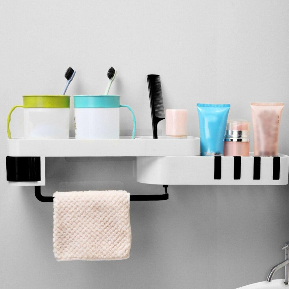 Permalink to Punch-free bathroom shelf plastic toilet bathroom vanity wall hanging bathroom storage rack basket no trace stickers rack