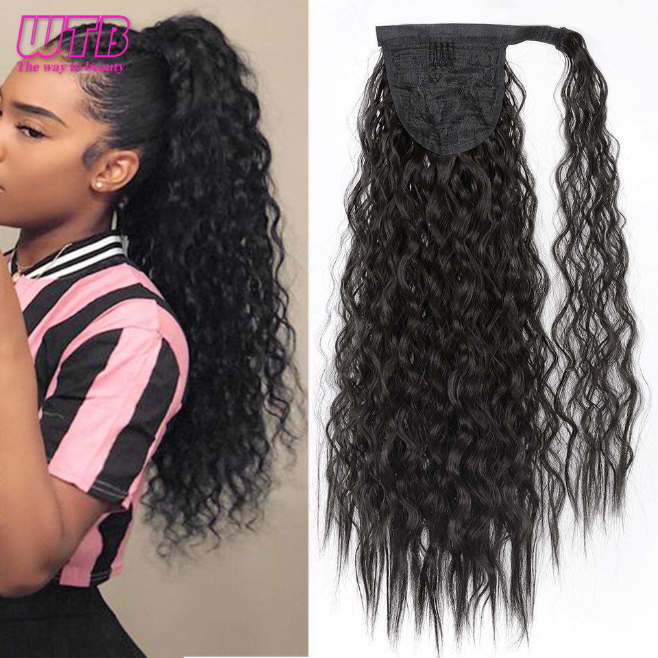 WTB 50CM Long Corn Wave Ponytail For Women Heat Resistant Synthetic Wrap Around Magic Paste Hairpieces Ponytails