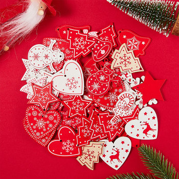 With Rope 10pcs/Lot 5CM Natural Wood Ornaments Pendant Hanging Gifts Heart Star Snowflakes Christmas Tree Home Decorations 62082 image