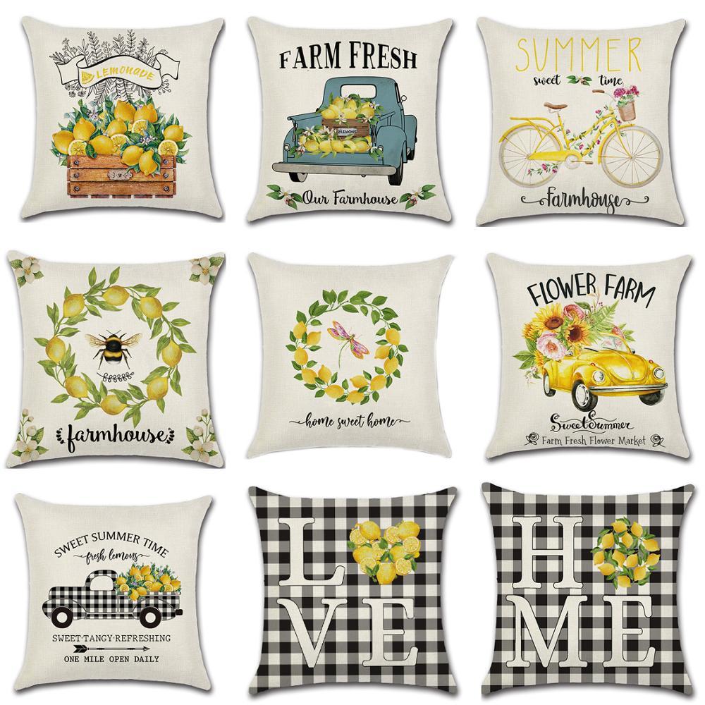 Summer Lemon Truck Love Home Cotton Linen Farmhouse Throw Pillow Covers Black White Buffalo Check Plaid Pillowcase Home Decor1pc