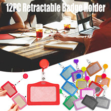 Badge-Holder Retractable Elastic Name with 12PC Clip Work-Badge Transparent