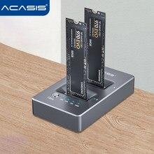 Корпус Acasis NVME для двух дисков, док-станция с M.2 на Type C USB3.1 Gen2, внешний жесткий диск для M2 SSD Key M SSD