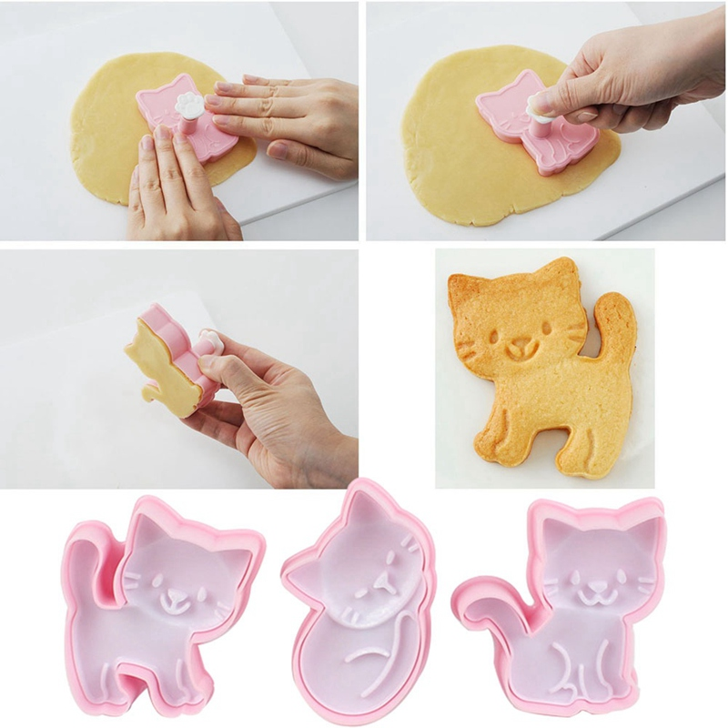 3Pcs/Set Cat Kitten Cookie Molds Fondant Cutter Biscuit Cutter Cake Pastry Mold Cake Decoration Kitchen DIY Baking Supplies Gift