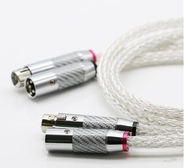 Câble Audio OCC 16 brins plaqué argent 8AG haut de gamme avec câble équilibré XLR à 3 broches en Fiber de carbone, connecteur xlr, audio