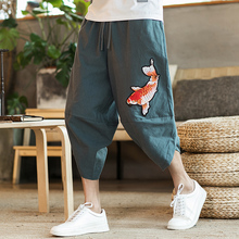 Chinese Style Men Pants 2020 New Beach Pants Male Summer Casual Calf-Length Pants Man Embroidery Baggy Loose Trousers cheap VOLGINS Harem Pants Flat COTTON Linen NONE Full Length Midweight Broadcloth Elastic Waist Chinese Size Spring Summer Autumn
