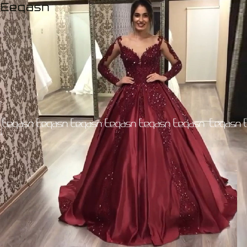 Vintage Muslim 2020 Burgundy Lace Prom Dresses With Full Sleeves Puffy Ball Gowns Saudi Arabic Prom Gowns Vestido Formatura
