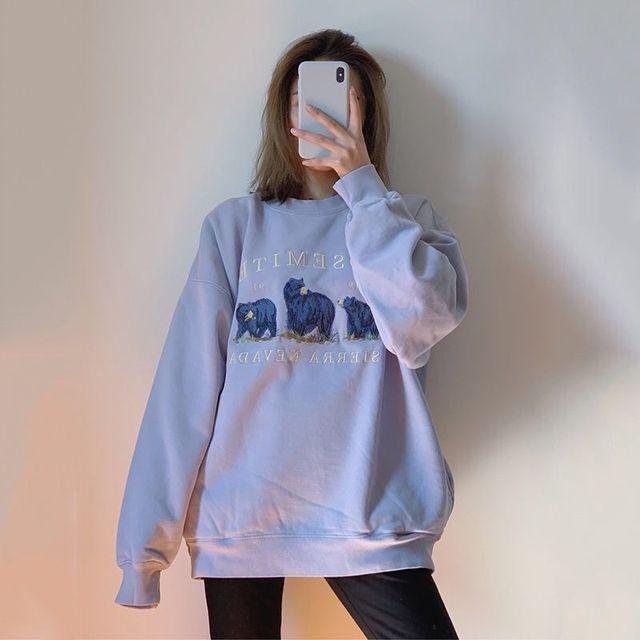 Vintage Bear Embroidery Sweatshirts Hoodies Women Harajuku Streetwear Casual Long Sleeve Crewneck Oversized Fashion Hoodie Woman 4