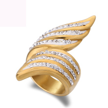 Wing shape design argil finger ring high quality jewelry gold color titanium steel casting crystal rings for women free shipping