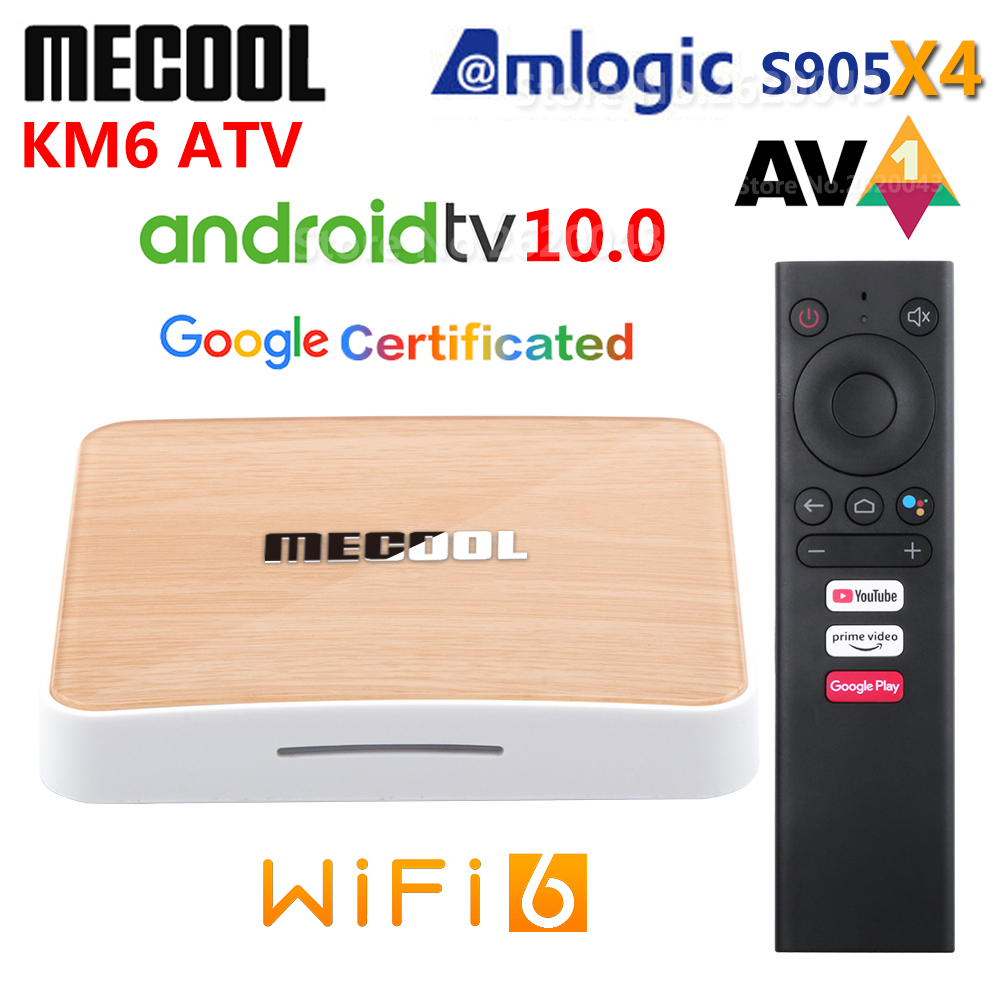 Mecool KM6 в ТВ Amlogic S905X4 AV1 Смарт Android 10,0 ТВ коробка 4 Гб Оперативная память 64 Гб Встроенная память 2,4G 5G Wi-Fi Bluetooth 4 к HD декодер каналов кабельного тел...