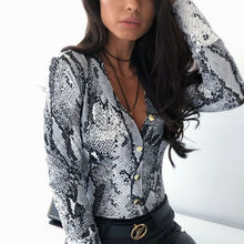 Women's Snake Skin Printed Shirts Ladies Kimono Tops Blouse Long Sleeve Turn Dow