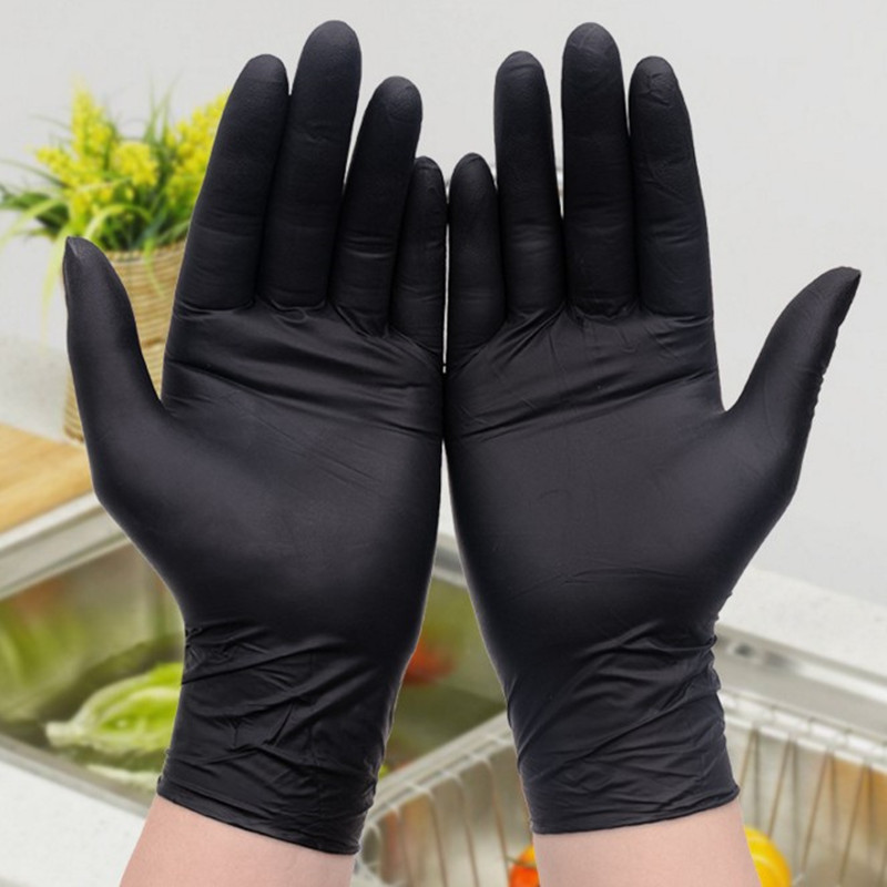 Black Disposable Nitrile Gloves Household Cleaning Gloves Laboratory Nail Art Anti-Static Gloves Powder Free 9 Inch Length