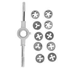 11Pcs/Set Bearing Steel Screw And Die External Thread Cutting Tapping Hand Tool Kit Tapping Tool Screw Tap Die Wrench Kit thread jacket lo sets of steel braces braces tool braces wire tapping wrench tap 230