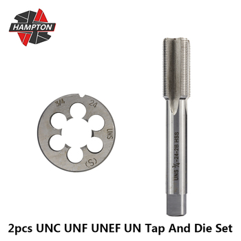 цена на Hampton UNC UNF UNEF UN  Right Hand Thread Tap And Die Set 2pcs HSS Hand Tap Drill Bit 5/16 3/8 7/16 1/2 5/8 3/4-18 20 24 28 40