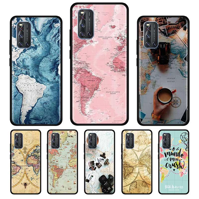 World Map Travel Silicone Soft Case For Vivo S1 Y15 Pro Y12 Y17 Y19 Y30 Y50 V19 Z6 5G Iqoo Z1 3 5G Case Shell