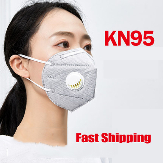 $ US $5.99 100pcs KN95 Dust Masks With Respiration Valve N95 Respirator Air Filter Gas Face Mouth Mask Safety Protective kf94 ffp3 IN STOCK