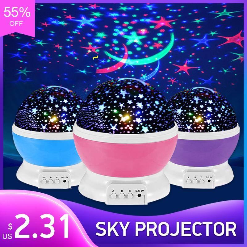 Ciel étoilé projecteur galaxie veilleuses étoile lune projecteur LED rotatif nuit lampe pour enfants chambre décoration bébé cadeaux