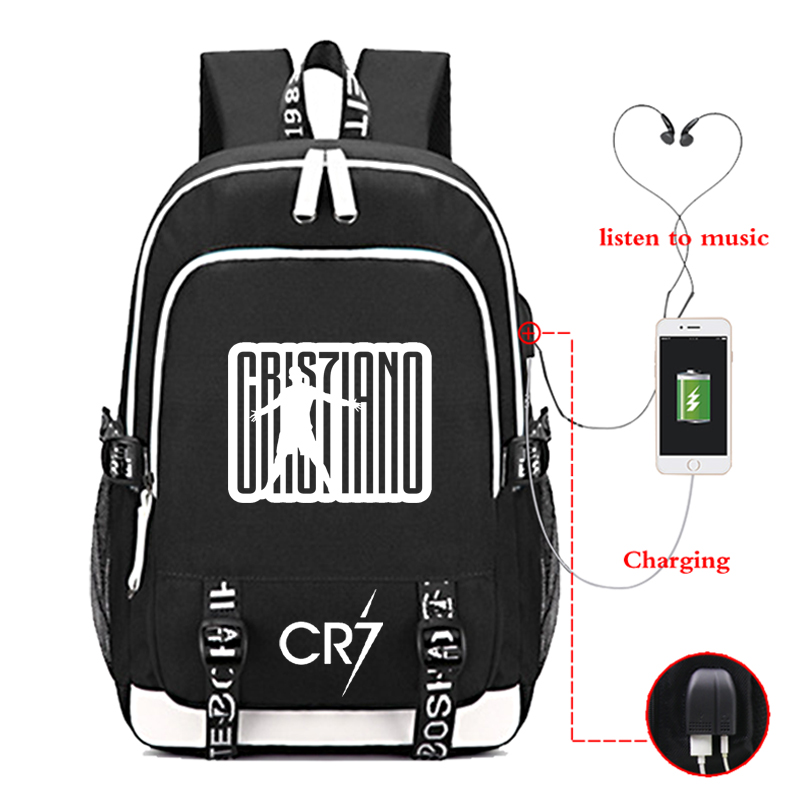 Cristiano Ronaldo CR7 USB Charge Backpack High Quality Men Women Boys Girls School Bags Cool Rucksack Teens Travel Mochilas