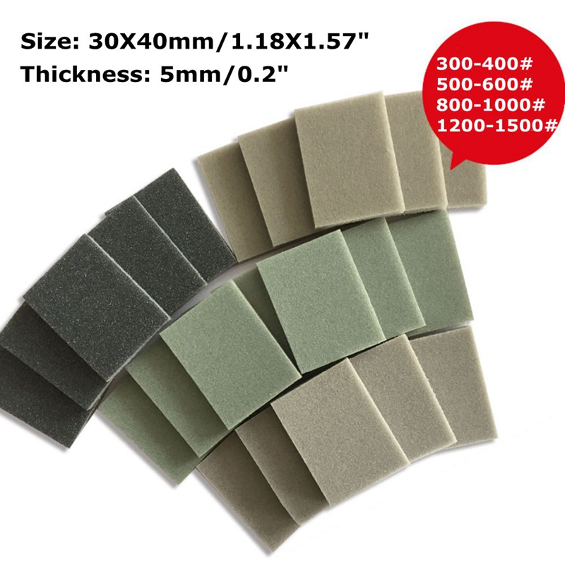 10pcs 30x40mm Foam Sanding Block Wet Dry Bodywork Fine Coarse Grit Sandpaper Sponge Pads Paint Polishing Tool ZXY1019