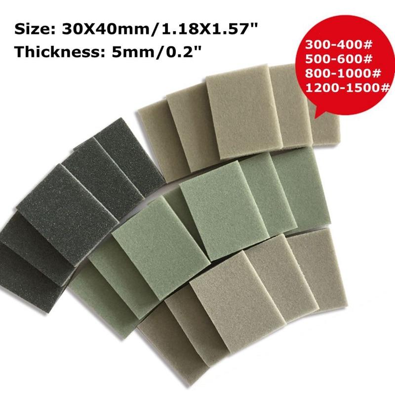 10pcs 30x40mm Foam Sanding Block Wet Dry Bodywork Fine Coarse Grit Sandpaper Sponge Pads Paint Polishing Tool ZXY1019