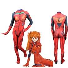 EVA Anime Asuka Langley Soryu Jumpsuits Cosplay Costume Neon Genesis Evangelion Unisex Fullbody Bodysuit Zentai Suit