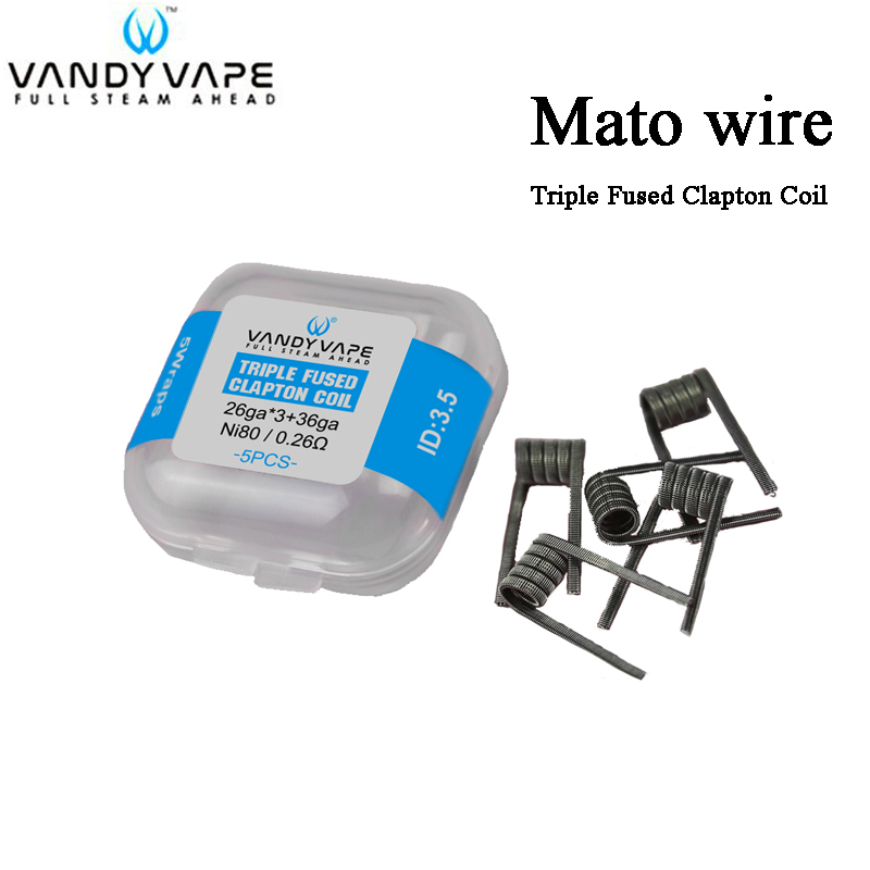 5pcs/lot Vandy Vape MATO Prebuilt Wire Triple Fused Clapton Coil 26ga*3+36ga Ni80 0.26ohm For Vandyvape MATO RDTA Tank Atomizer