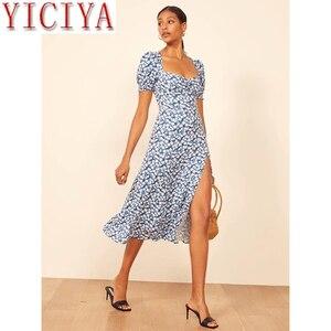 Женское винтажное платье с принтом, летнее платье трапециевидной формы с коротким рукавом и тонкой талией, Пляжное Платье с разрезом для от...