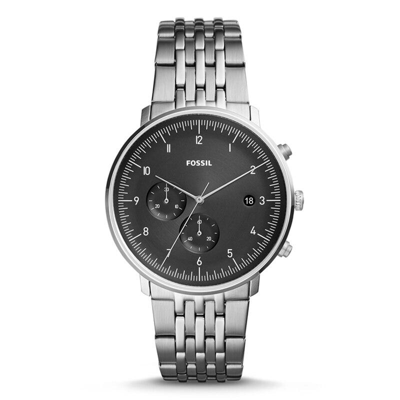 Fossilen Uhr Männer Chase Timer Chronograph 42mm Schwarz Zifferblatt Quarzuhr Männer Armbanduhr mit Edelstahl FS5489