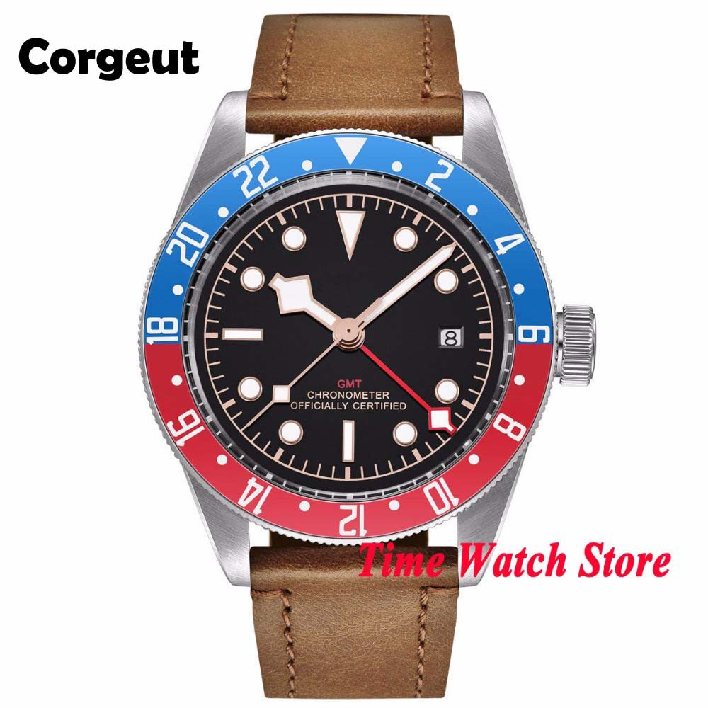 41mm Corgeut GMT automatic wrist watch men sapphire glass waterproof black strile dial luminous blue red Bezel leather strap - 1