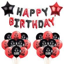 La casa de papel ballons dinheiro roubo tees série tv fãs do crime balões máscaras preto vermelho feliz aniversário festa decoração bolas