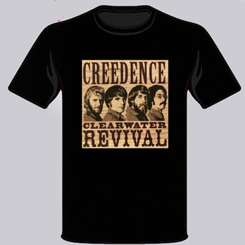Creedence Clearwater Revival 60S 70S Rock Band Men'S Black T-Shirt Size S - 3Xl Vintage Graphic Tee Shirt