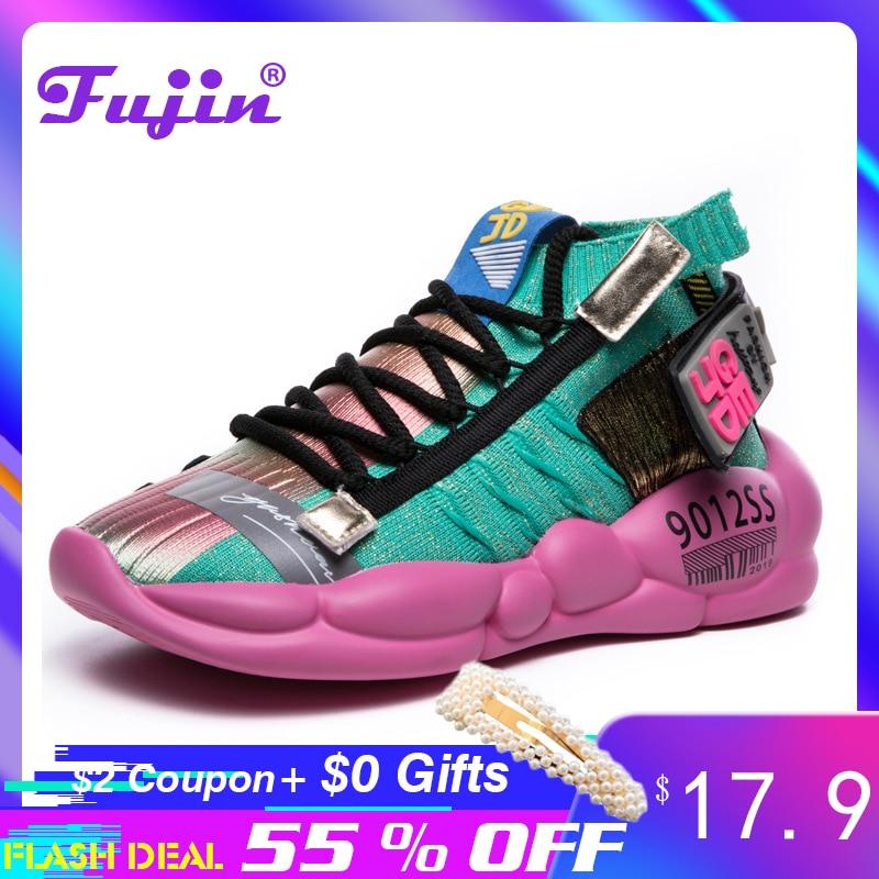 Fujin Women Vulcanized Shoes Summer Tape Sneaker 2020 Spring Autumn Knitting Breathable Shoe Chunky Platform Sneakers Women