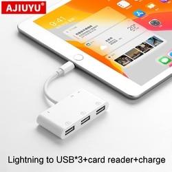 AJIUYU USB Lightning OTG Hub For iPad Air 2 3 Pro mini 4 5 10.2 9.7 10.5 tablet HDMI Adapter Converter Connecting keyboard mouse