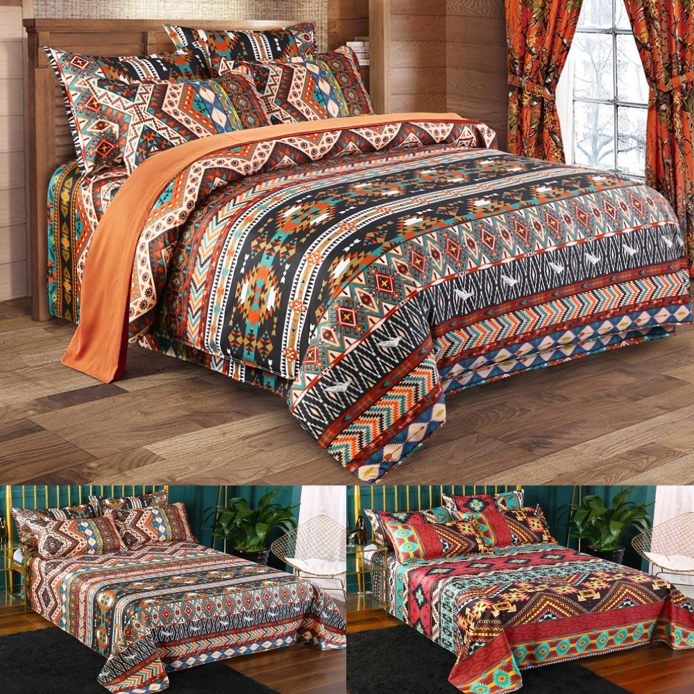Mandala Satin Set Of Three Bedding Sets Bed Sheet Duvet Cover Pillowcase Set Bed Colorful Quilt For Bedroom