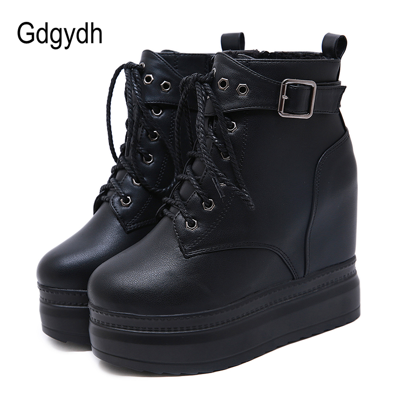 Gdgydh Lace Up Boots Heels Platform Wedges Ankle Boots For Women Gothic Leather Autumn Shoes Girl Boots Sexy Rivet With Zipper