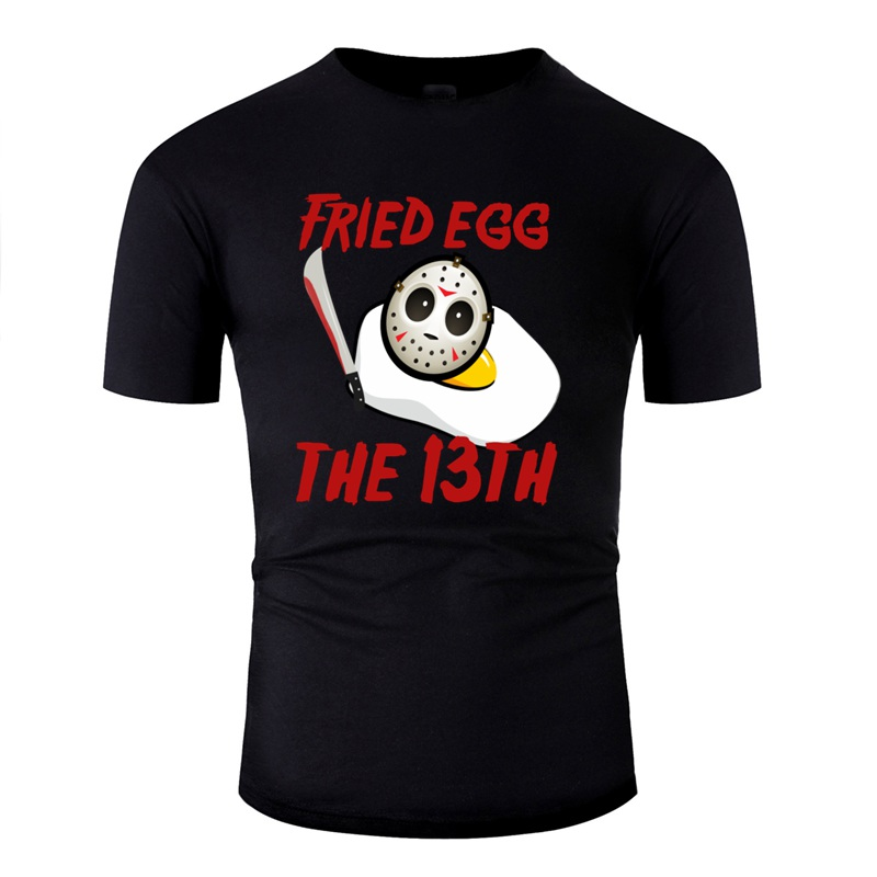 Print Comic Funny Parody Friday The 3th Fried Egg Halloween Slasher Tshirt For Mens Cool The Forest ,Bowie Knife Adult T Shirts image