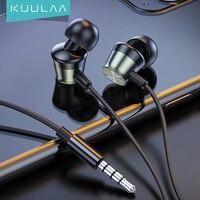 KUULAA Bass Sound Kopfhörer In-Ohr Sport Kopfhörer mit mic für xiaomi iPhone Samsung Headset fone de ouvido auriculares MP3