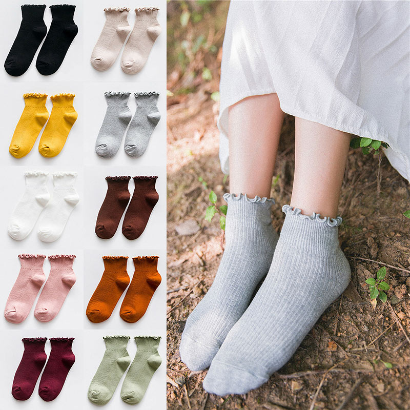 Fashion Women Socks Cute Solid Color Ankle High Casual Warm Breathable Socks K-BEST