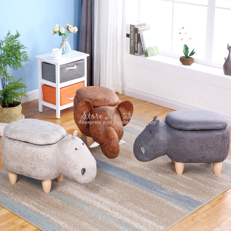 15% Cute Animal Shape Stool Oak Stool Leg Furniture Hippo Dinosaur Solid Wood Stool Gilding Fabric Replacement Shoe Stool