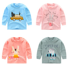 Cotton Boy Girls T-Shirts Autumn Clothes 6M-5years Long Sleeve T Shirt Pink Underwear Top Baby Tees Toddler Tshirt