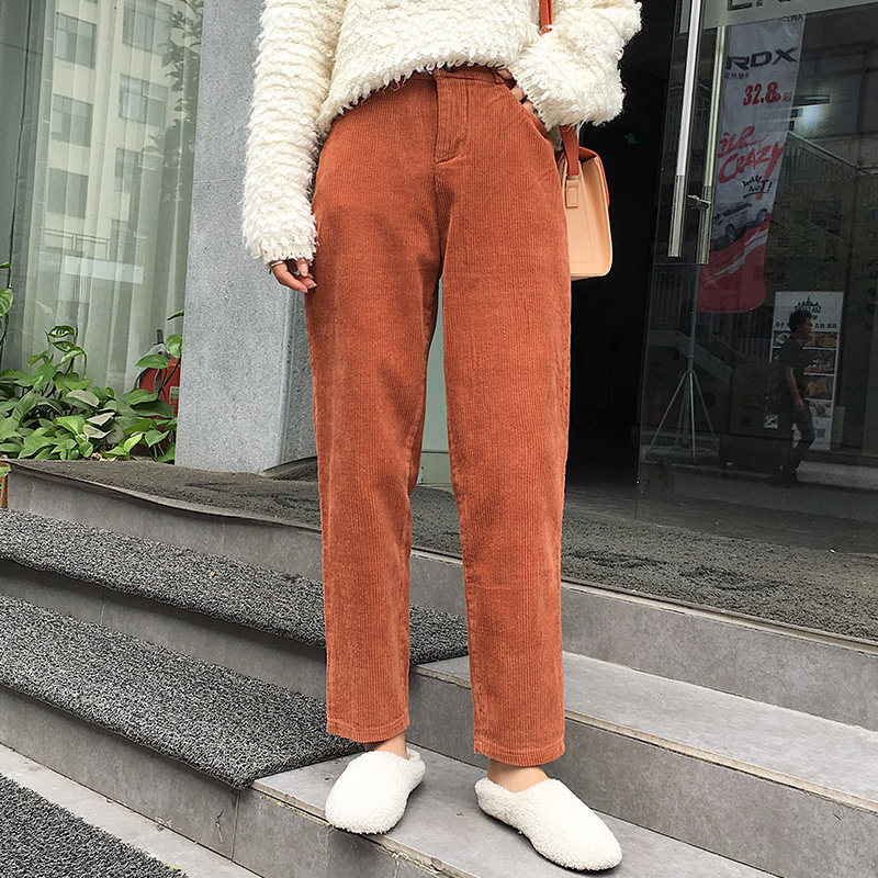 Women Pants Plus Size Harem Pants Autumn Corduroy Pants Korean Chic Trousers High Waist Black Pants Pantalones Mujer S-5XL