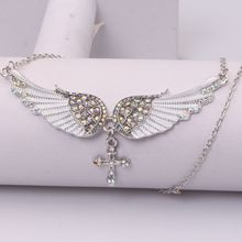 FXM fashion white angel wings cross pendant stainless steel necklace creative rhinestone pendant neck chain clavicle chain angel wings rhinestone teardrop necklace