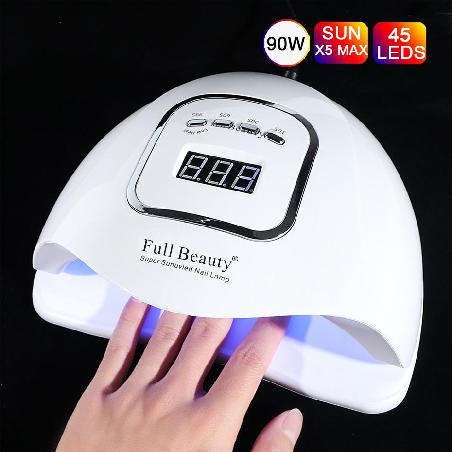 90W UV LED Nail Lamp Nail Dryer LCD Display Drying All Gels Nail Polish With Motion Sensing Smart Timer Nail Art Tools SAFBX5