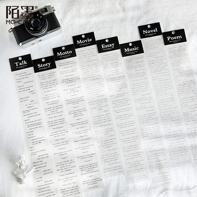 Black English Series Basic Text PET Washi Masking Tape Stickers Scrapbooking Stationery Decorative Long Strip Of Tape