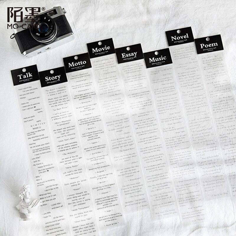 Black English Series Basic Text PET Washi Masking Tape Stickers Scrapbooking Stationery Decorative Long Strip Of Tape