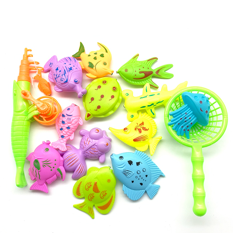 Children's Magnetic Fishing Parent-child Interactive Toys Game Kids 1 Rod 1 Net 12 3D Fish Baby Bath Toys Outdoor Toy